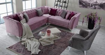 Milas Eckgarnitur rosa grau 1