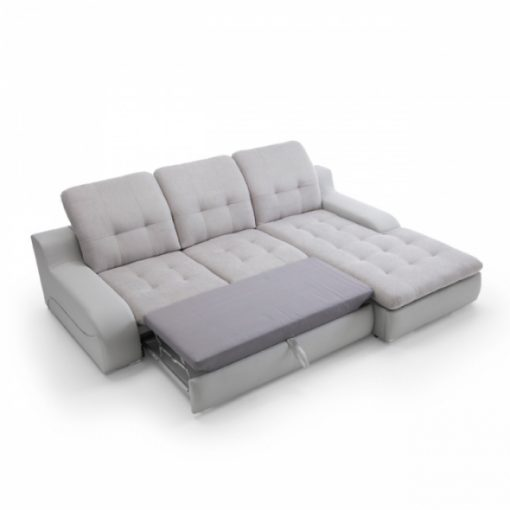 BAVERO – Ecksofa mit Schlaffunktion und Bettkasten Grau 3
