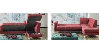BERGAMA – Polsterecke mit Schlaffunktion 2 rot turkis