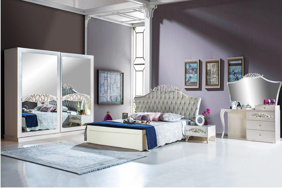 ELIF - Schlafzimmer Weiss Silber