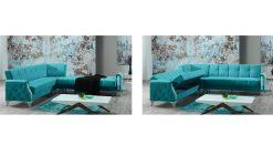 esinti Eckcouch mit Schlaffunktion 2 hellblau