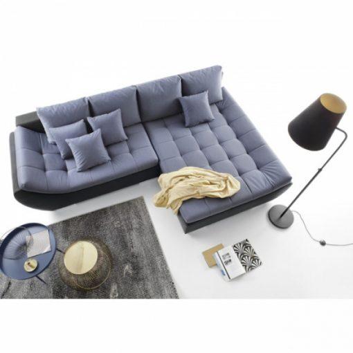 HUGO – Ecksofa mit Schlaffunktion und Bettkasten Blau Schwarz 1