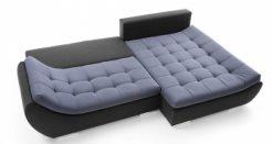 HUGO – Ecksofa mit Schlaffunktion und Bettkasten Blau Schwarz 3