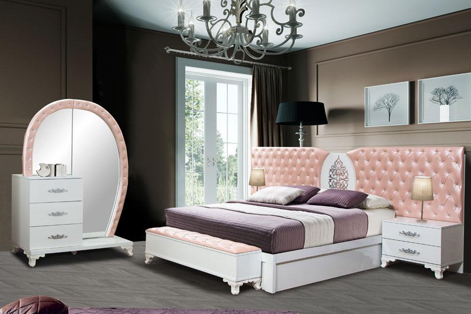 KRAL – Schlafzimmer Weiss Rosa – Erkan Möbel