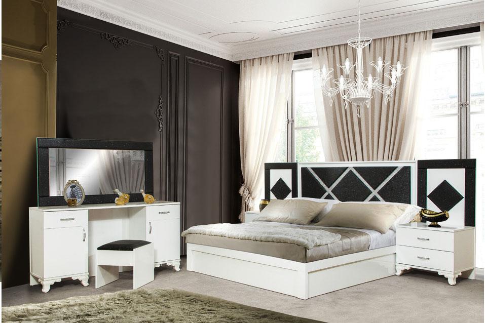 LARA - Schlafzimmer Weiss Schwarz