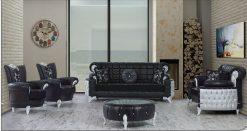 Uranus Couchgarnitur schwarz 1 Türkische Möbel
